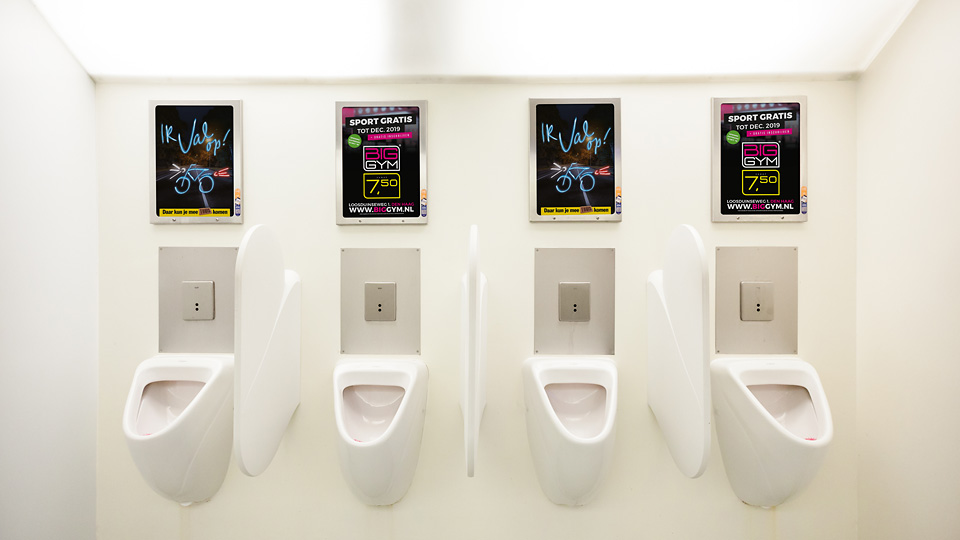 Altermedia BigGym Toiletreclame Wcreclame Toiletmedia Washroom media