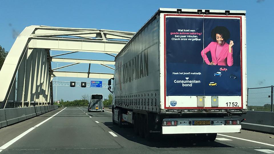 Altermedia Consumentenbond Vrachtwagenreclame Trailerreclame truck advertising