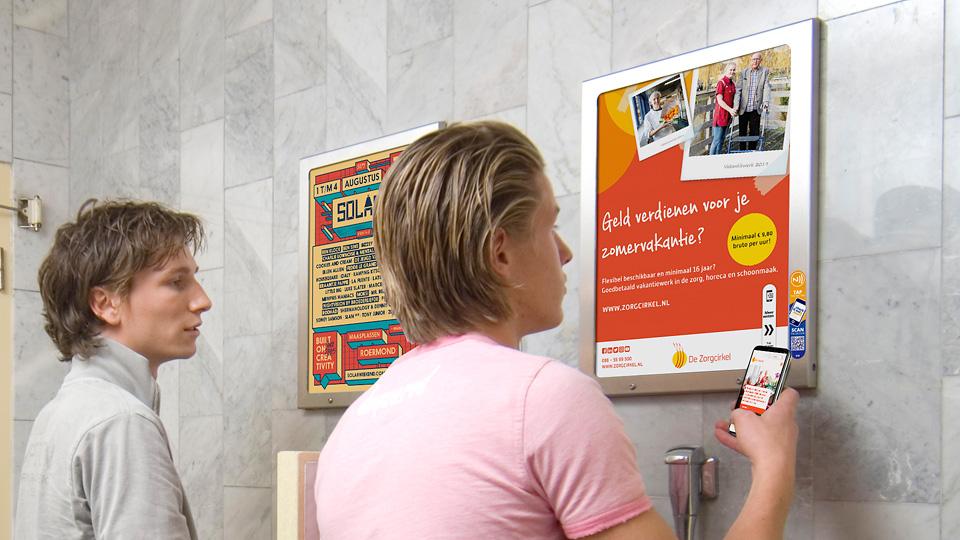 Altermedia  De Zorgcirkel Toiletreclame Wcreclame Toiletmedia Washroom media