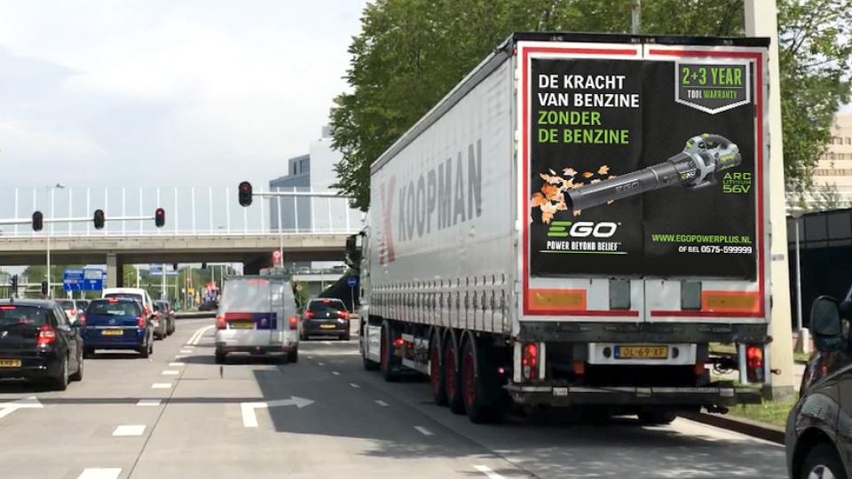 Altermedia EGO Ego  Power Plus vrachtwagenreclame Trailerreclame Truck Advertising