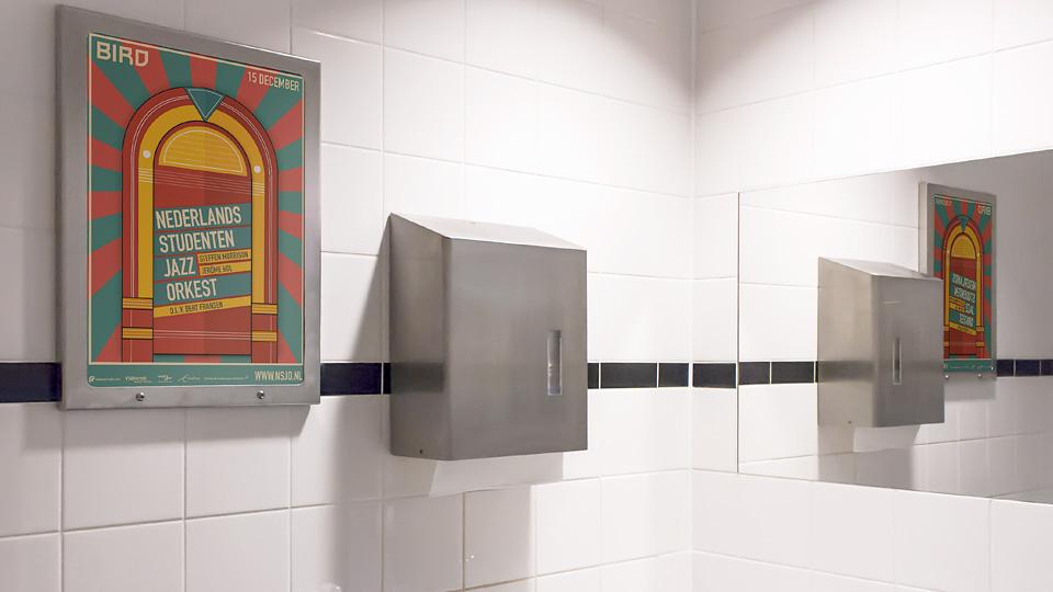 Altermedia Nederlands Studenten Jazz Orkest Toiletreclame WCreclame Toiletmedia Washroom media