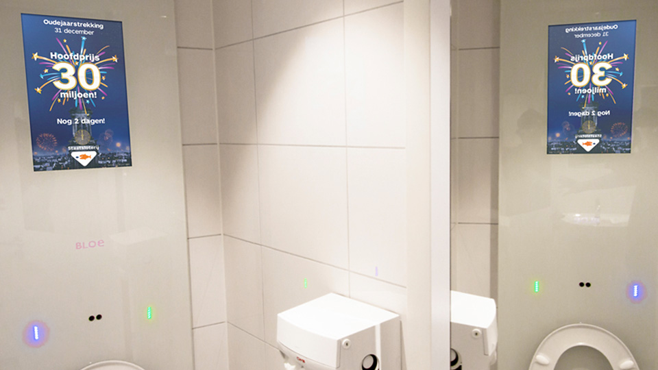 Altermedia Nederlandse Loterij Staatsloterij Toiletreclame WCreclame Toiletmedia Washroom media digital signage digital out of home DOOH