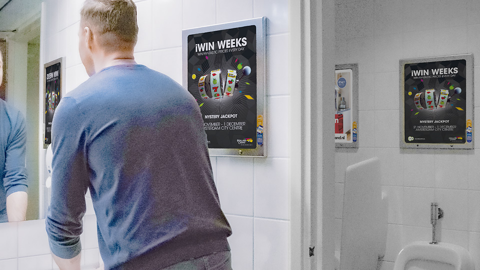 Altermedia Holland Casino Amsterdam Centrum WCreclame Toiletmedia Washroom media