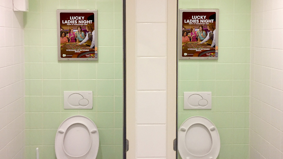 Altermedia Holland Casino Breda WCreclame Toiletmedia Washroom media