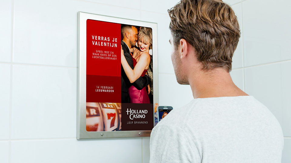 Altermedia Holland Casino Leeuwarden WCreclame Toiletmedia Washroom media