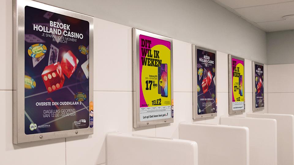 Altermedia Holland Casino Utrecht WCreclame Toiletmedia Washroom media