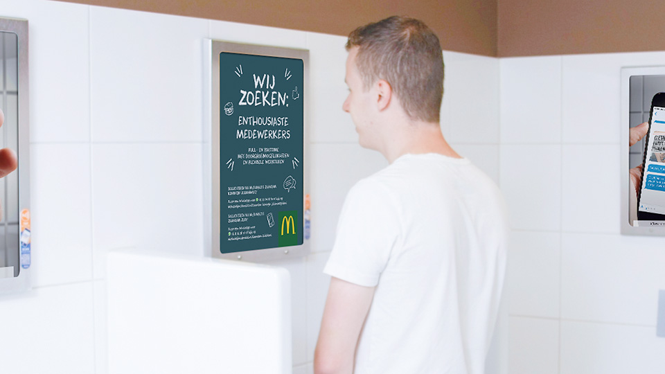 Altermedia Mc Donald's Nederland Zaandam Toiletreclame WCreclame Toiletmedia Washroom media