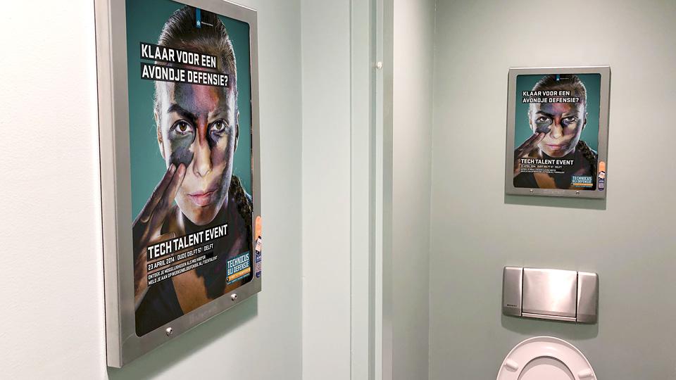 Altermedia Ministerie van Defensie Defensie Tech Talent Event Toiletreclame WCreclame Toiletmedia Washroom media