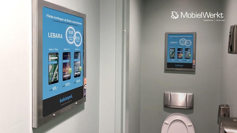 Altermedia MobielWerkt Belsimpel Toiletreclame WCreclame Toiletmedia Washroom media